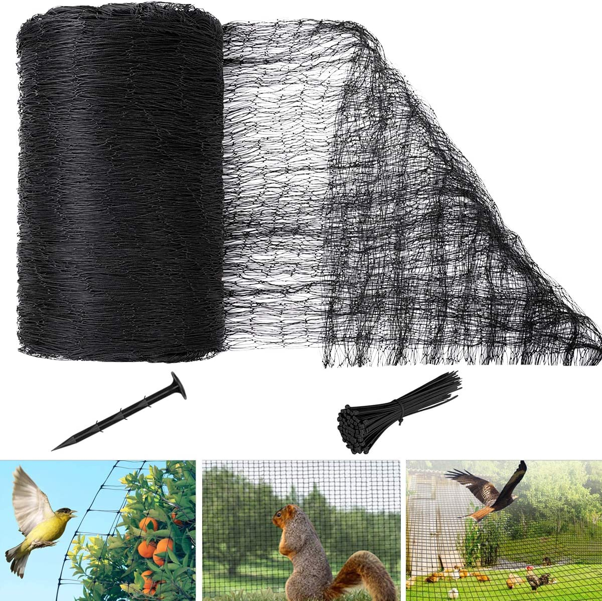 OPOLEMIN Bird Netting, 24.6' X 49.2' Garden Netting Mesh Protect Fruits Trees Plant & Chicken Coop, Reusable Deer Fence Netting Lasting Protection Garden Orchard Against Birds Deer and Other Animals