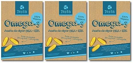 Testa Omega-3 Aceite de Algas cápsulas de 450mg Omega-3 Vegano DHA +