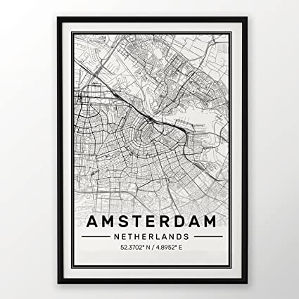 Amsterdam City Map Print Modern Contemporary Poster In Sizes 50x70