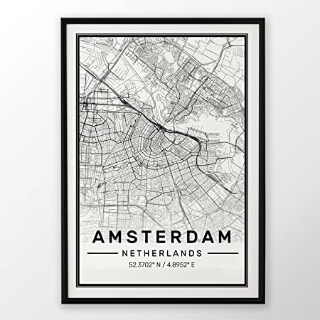 Amsterdam City Map Print, Modern Contemporary poster in sizes 50x70 ...