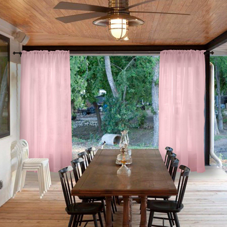 Macochico Elegant Semi Sheer Curtains Rod Pocket Light Voile Drapes Privacy Protection Heat Insulated Lightproof for Bedroom Living Room Cabana Gazebo Pergola Porch Pink 52W x 102L (1 Panel)