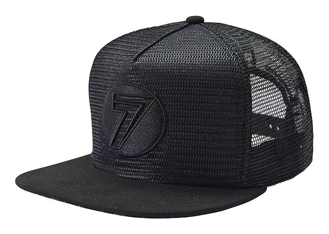 92fb7bbc0d1 Amazon.com  Seven Mens Dot Mesh Snapback Adjustable Hat Cap One Size Fits  All Black  Clothing