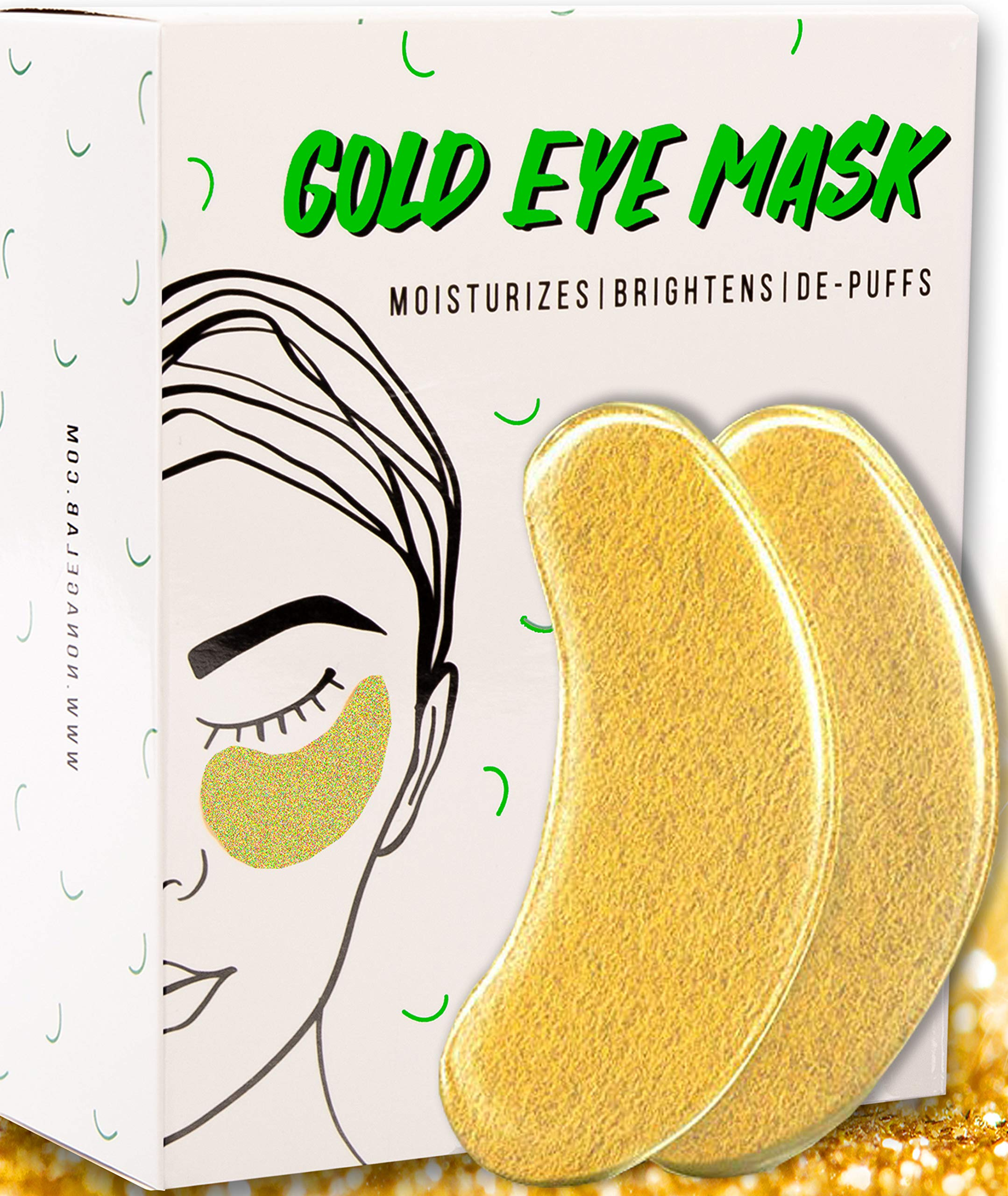 Under Eye Gold Eye Mask - Energizing, Moisturising 24k Gold Collagen Patches for Reducing Dark Circles Puffiness Undereye Bags, Wrinkles (15 Pairs) by NonAgeLab