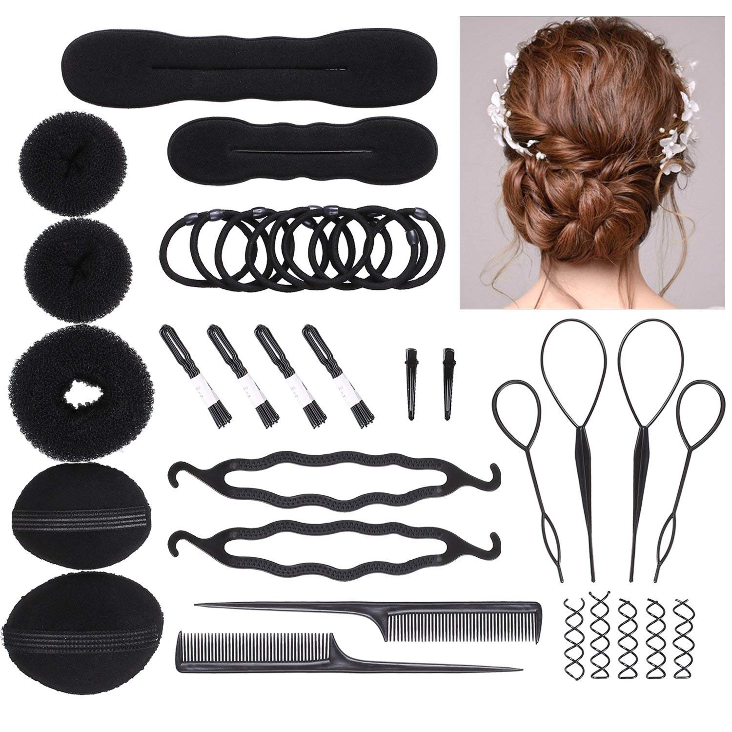 DELOVE- Hair Styling Accessories DIY Tools Set Hair Twist Styling Clip Stick Bun Maker Braid Tool