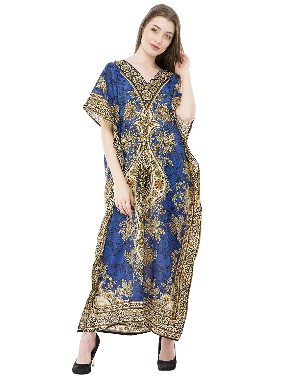 SKAVIJ Kaftan Dresses for Women V Neck Caftan Plus Size Long Nightgown Cover up CL003