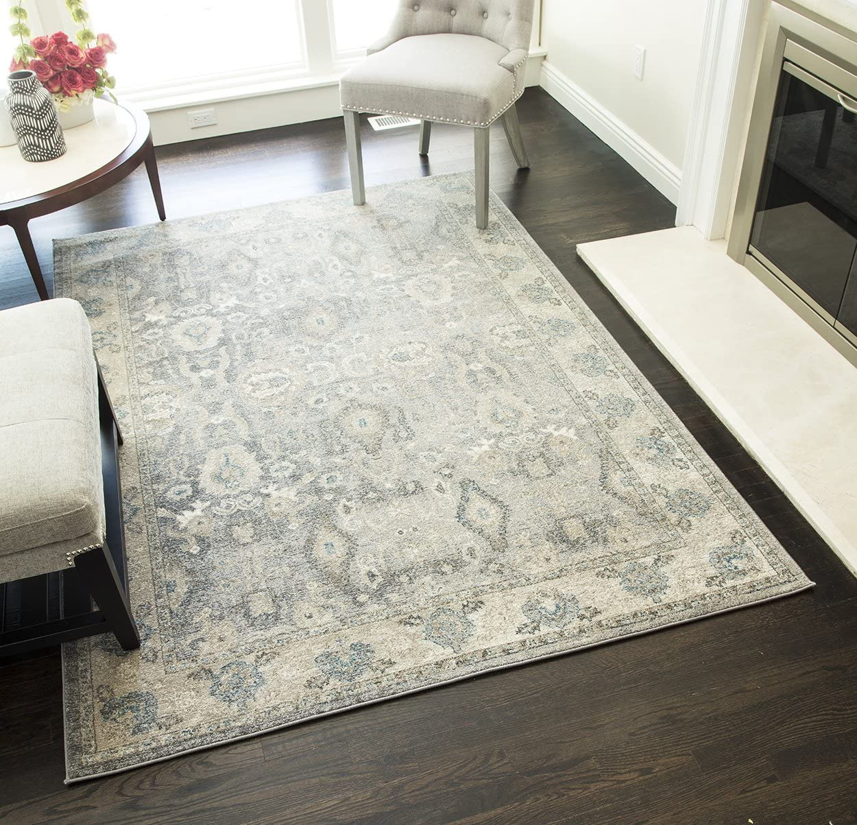 Rugs America ET300A Area Rug, 5 3 x 7 6 , Gray Ivory