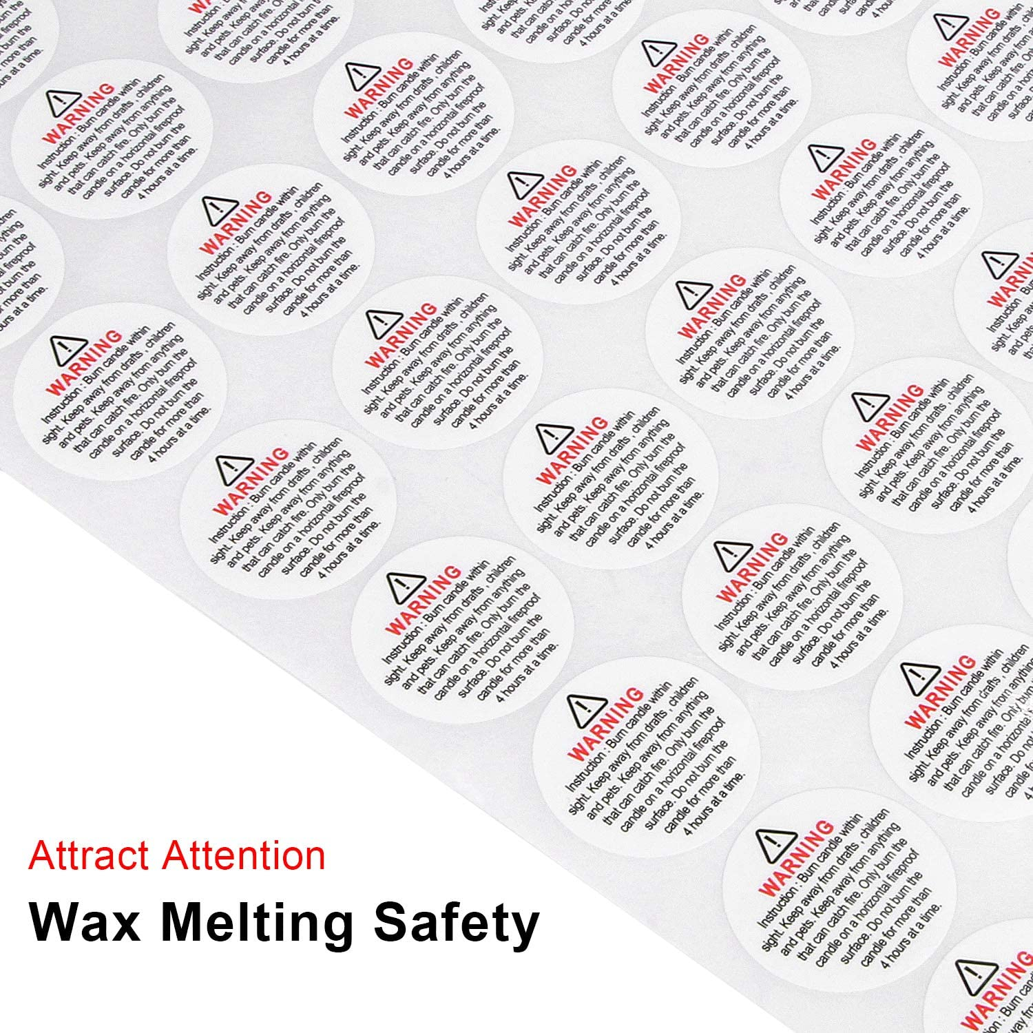 200 Pieces Candle Warning Labels 1.2 Inch Wax Melting Safety Stickers for Candle Making