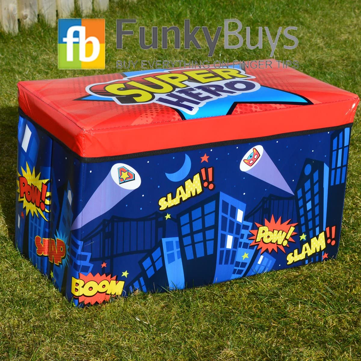 Superhero Toy Laundry Children/'s Boy Girl Sturdy Seat Storage Box