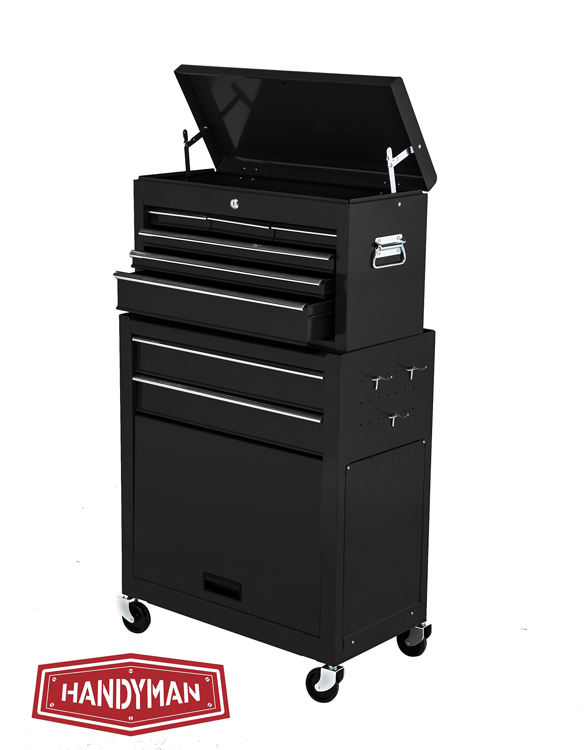 Handyman Heavy Duty Steel Toolbox with Chests and Roller Cabinets 4 Wheel Casters (Black) by Handyman