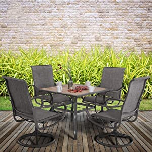"""MFSTUDIO 5 Piece Metal Patio Armrest Dining Swivel Chairs and Larger Square Table Set, 37"""" Square Bistro Wood-Like Table and 4 Backyard Garden Rock Chairs - Umbrella Hole 1.57"""""""