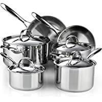Cooks Standard Classic Stainless Steel Cookware Set, 10- Pieces, Silver