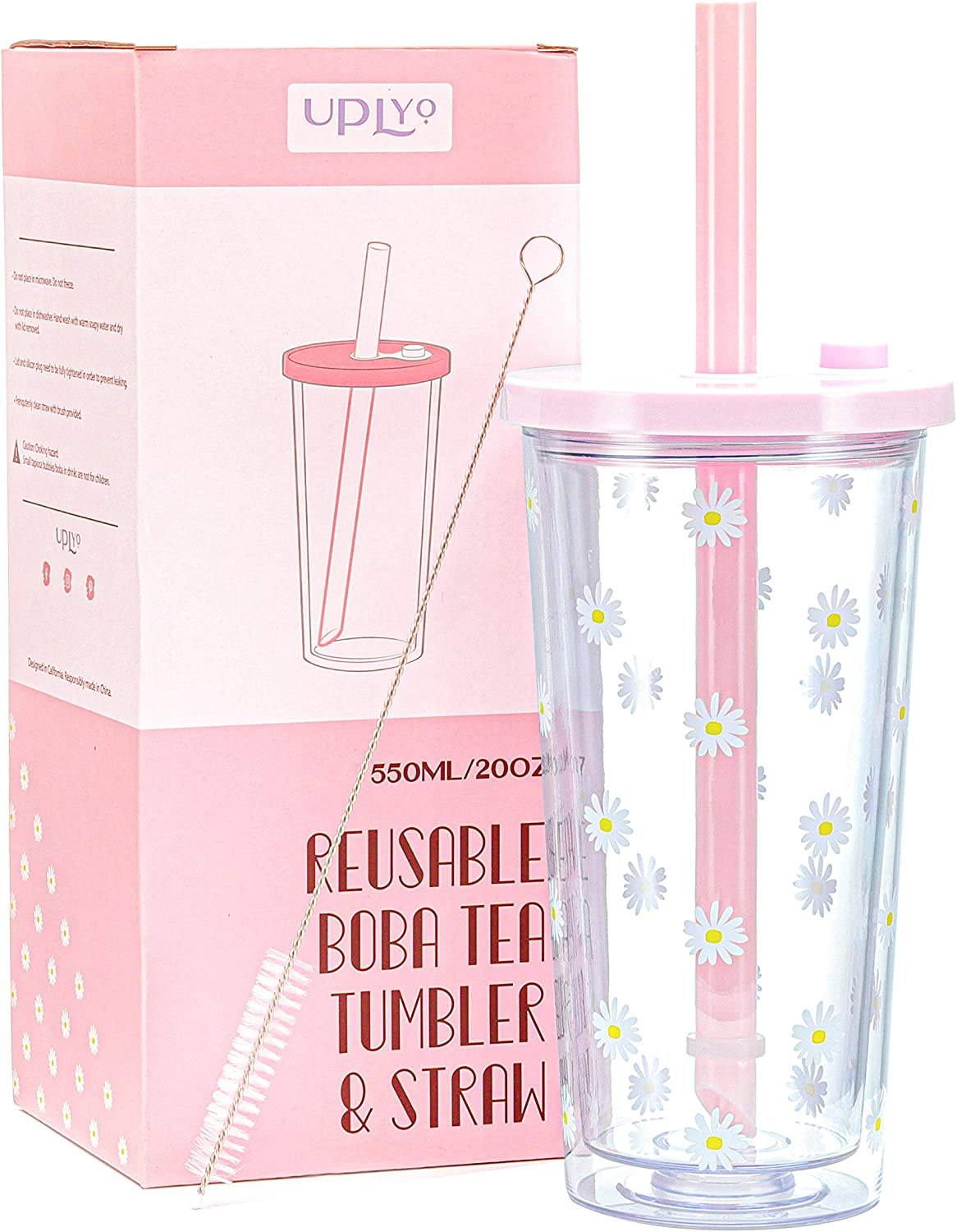 Reusable Boba Cup Smoothie Cup with Resealable Lid Plug - 550 ml/20 oz Double Wall Insulated Boba Tea Cup Boba Tumbler Milk Tea Cup with Wide Reusable Straw
