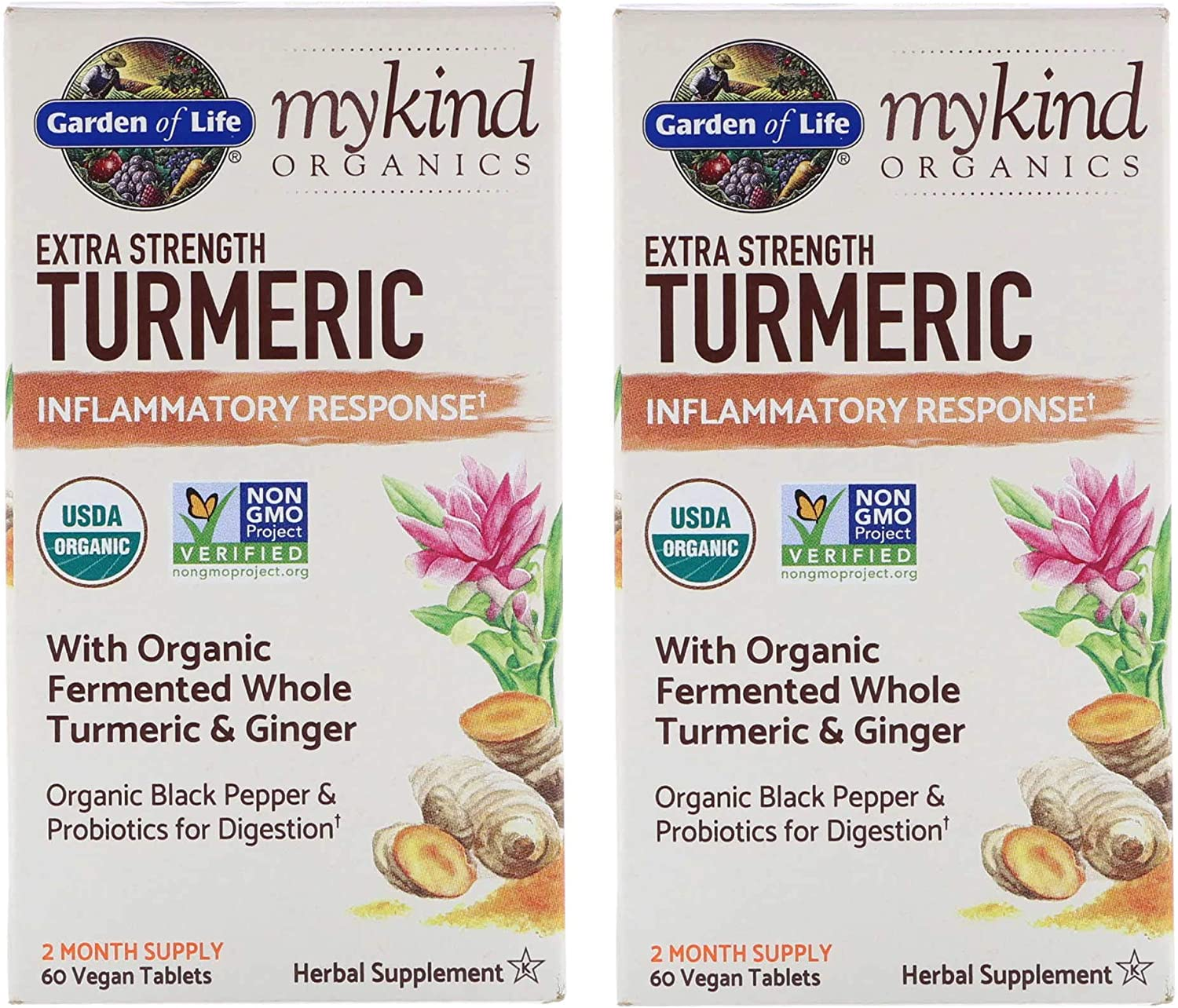 MyKind Organics Extra Strength Turmeric Inflammatory Response with Organic Fermented Whole Turmeric. Ginger, Organic Black Pepper and Probiotics for Digestion (60 Vegan Capsules) Pack of 2