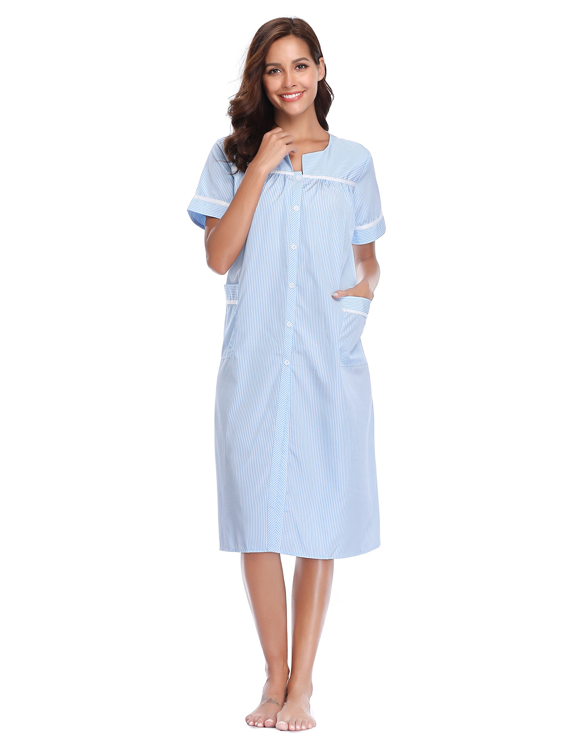 Lusofie House Dress for Women Short Sleeve Sleepwear Scoop-Neck Dusters Nightdress(Light Blue, L)
