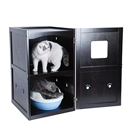Petsfit Double Decker Pet House Litter Box Enclosure Night Stand Painted  With Non Toxic