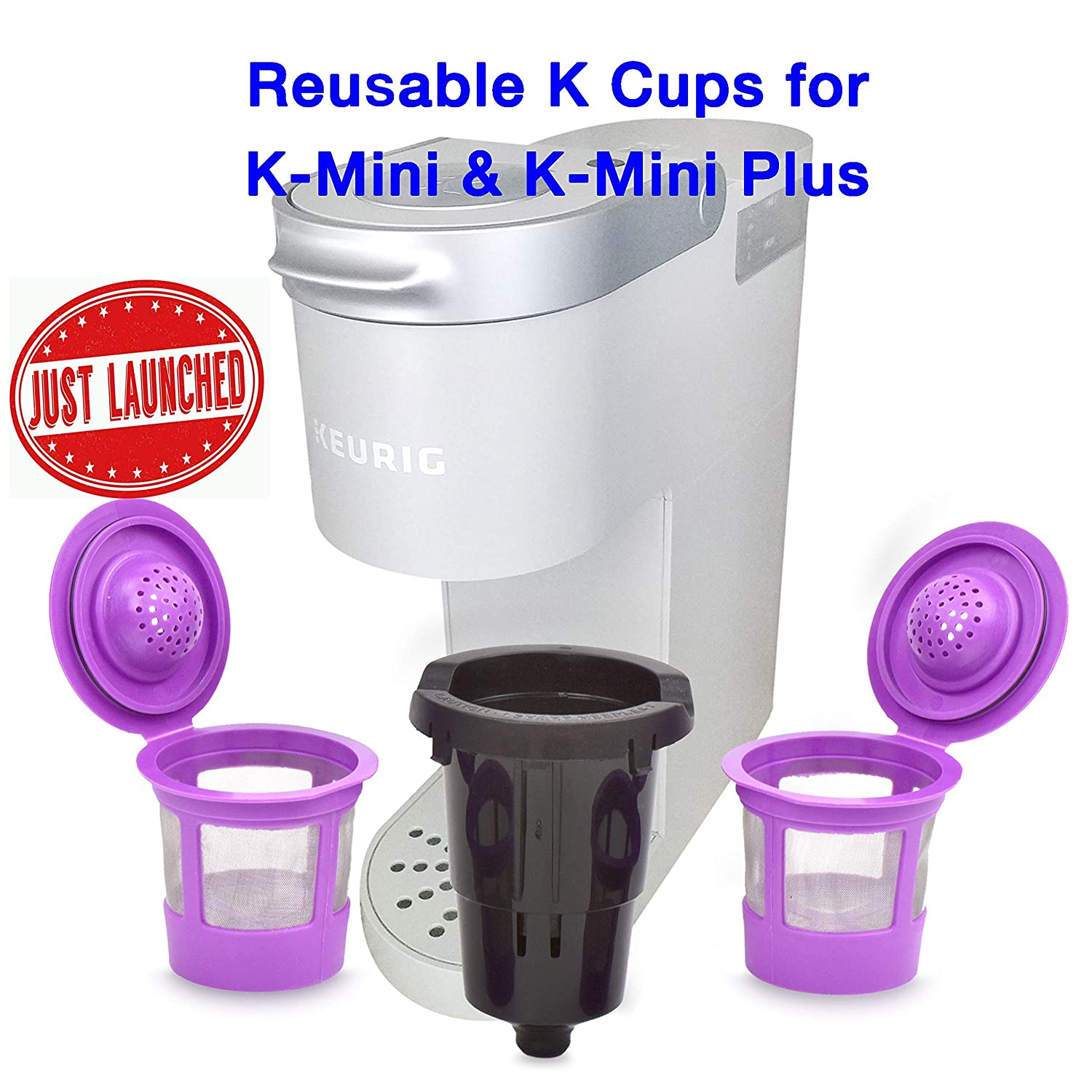B07QGQ4RJZ Delibru Reusable K Cups For K Mini Keurig K Mini Plus with Adapter | Keurig Mini Plus Reusable K Cups for Mini Keurig 818797aLG2L