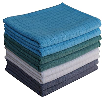 Gryeer Assorted Color Microfibre Tea Towels Pack Of 8 2 Grey 2 Blue 2 Green 2 Beige Soft Super Absorbent And Lint Free Kitchen Towels 45 X