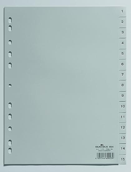 Separadores para archivador A4, 31 secciones, 215//230 x 297 mm, 10 unidades Durable 652310