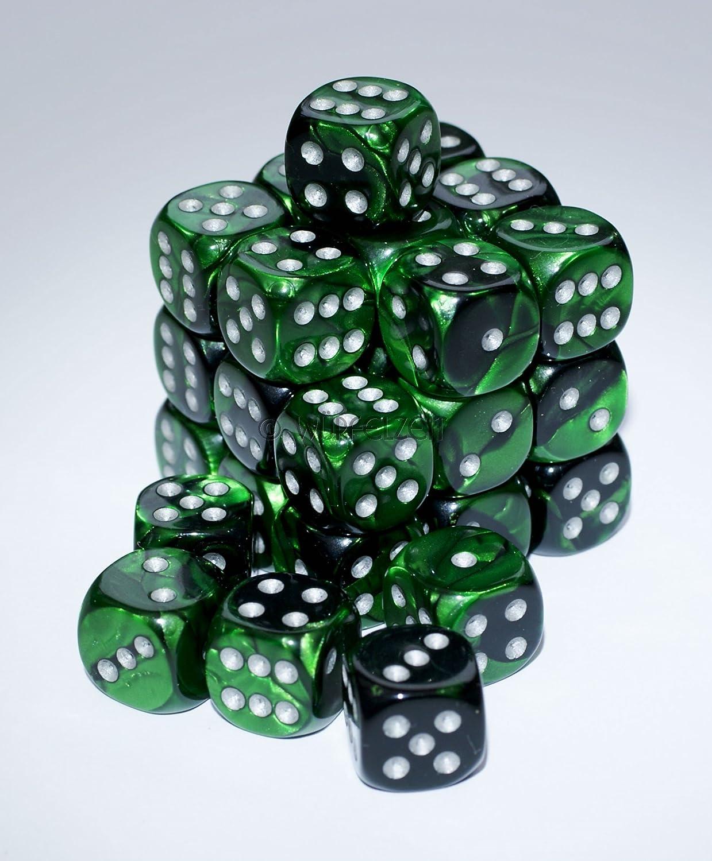 Würfelzeit 7208 - Würfel w6 12 mm, Alyen grün-schwarz m/silber (32er Set in Klarsichtbox)