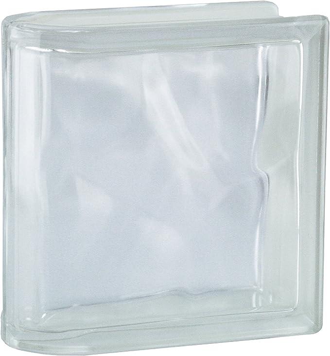 Milchglas 1 St/ück BM Glasstein Wolke SUPER White 1-seitig satiniert 19x19x8 cm Doppelendstein