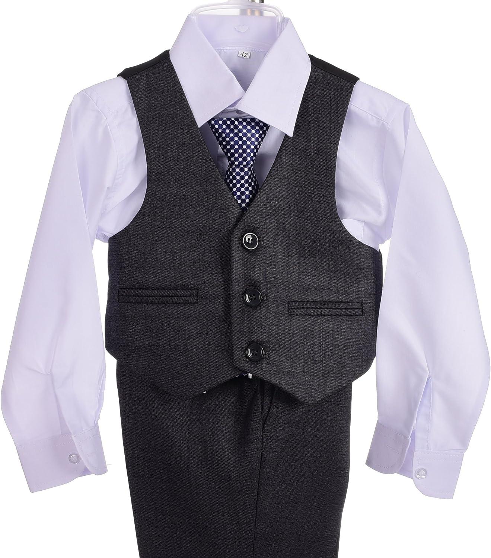 Lito Angels Boys Formal Suits Wedding Suits Page Boy Outfit 5 Pcs Set Slim Fit