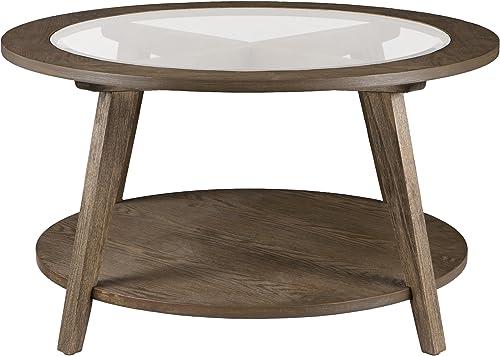 Furniture HotSpot Round Wood w Glass Top Coffee Table Burnt Oak w Gray Wash – 32 W x 32 D x 24 H