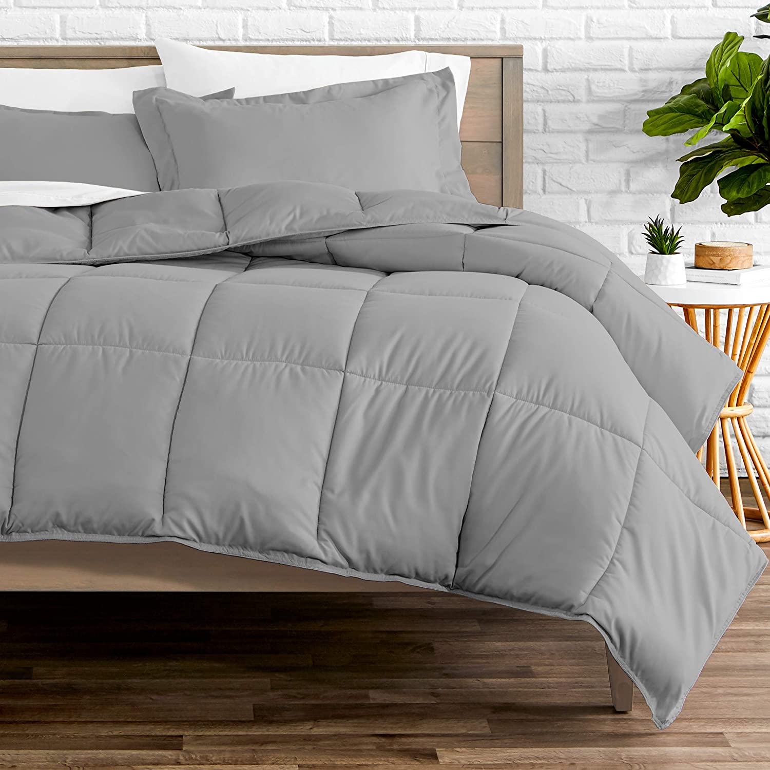 Bare Home Comforter Set - Queen Size - Goose Down Alternative - Ultra-Soft - Premium 1800 Series - Hypoallergenic - All Season Breathable Warmth (Queen, Light Grey)