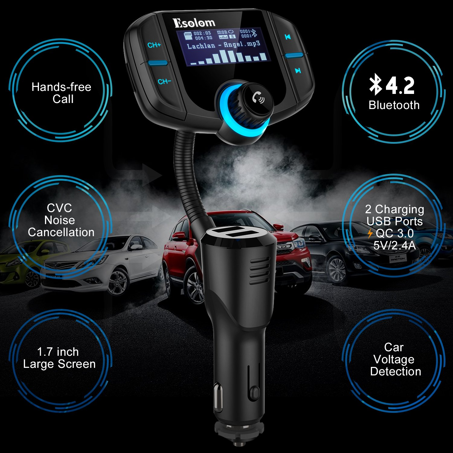 """Bluetooth FM Transmitter, ESOLOM Wireless Car Stereo Radio Adapter Receiver, Hands-free Calling Car Kit with 1.7"""" Display, QC3.0 & Smart 2.4A Dual USB Ports, Support TF Card, AUX Input/Output by ESOLOM (Image #2)"""