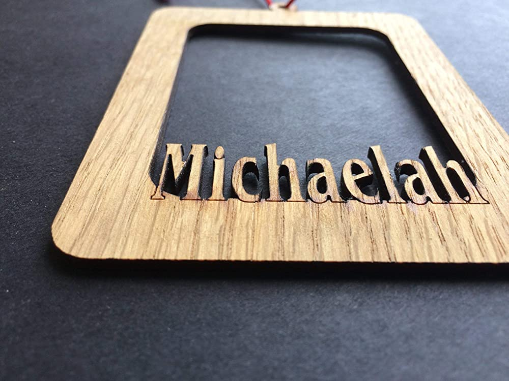Holds Wallet Sized Photo Personalized Name Picture Frame Christmas Ornament