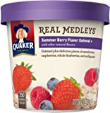 Quaker Real Medleys Oatmeal+, Summer Berry, Instant Oatmeal+ Breakfast Cereal, 2.46 oz Cup (Pack of 12)