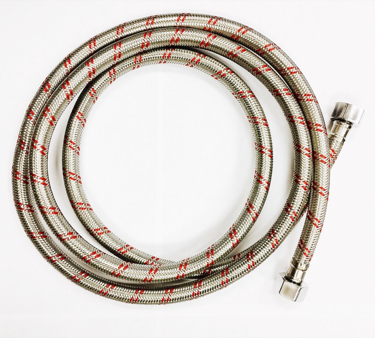 Faucet Connector Stainless Steel, Braided 1/2'' x 1/2'' x 6ft for Hot Water Supply
