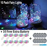 Fainyearn 10 Pack Multicolor Fairy String Lights Battery Operated Starry LED Moon Lights Firefly Bottle Lights for Centerpieces Party Wedding Decorations Holiday Festival