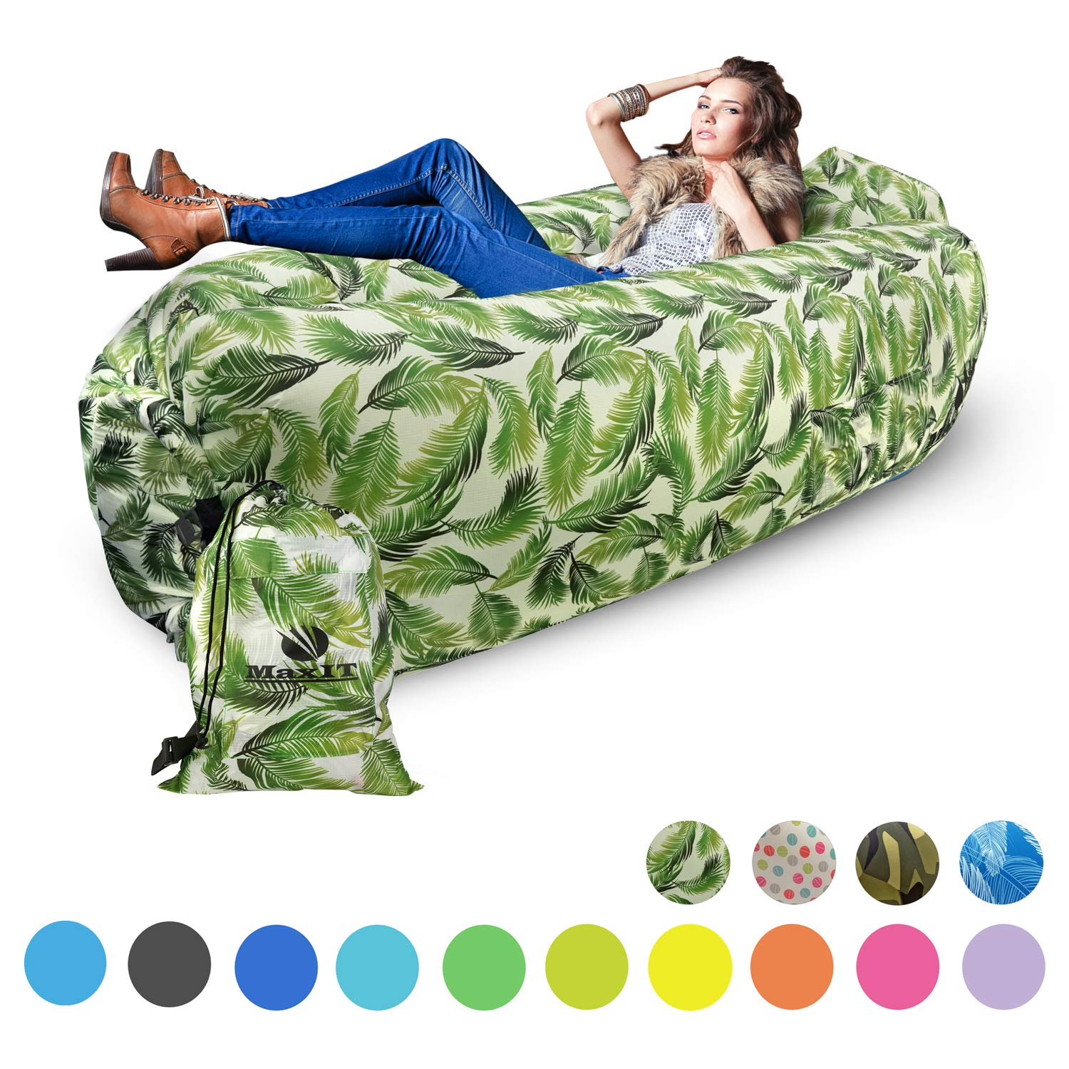 MaxIT Inflatable Hammock Sofa | Pool Floating Air Lounger Bed for Adults or Kids, Perfect for Tanning or Relaxing in The Sun | Easy to Inflate and Puncture Resistant (Green Feather) by MAXIT