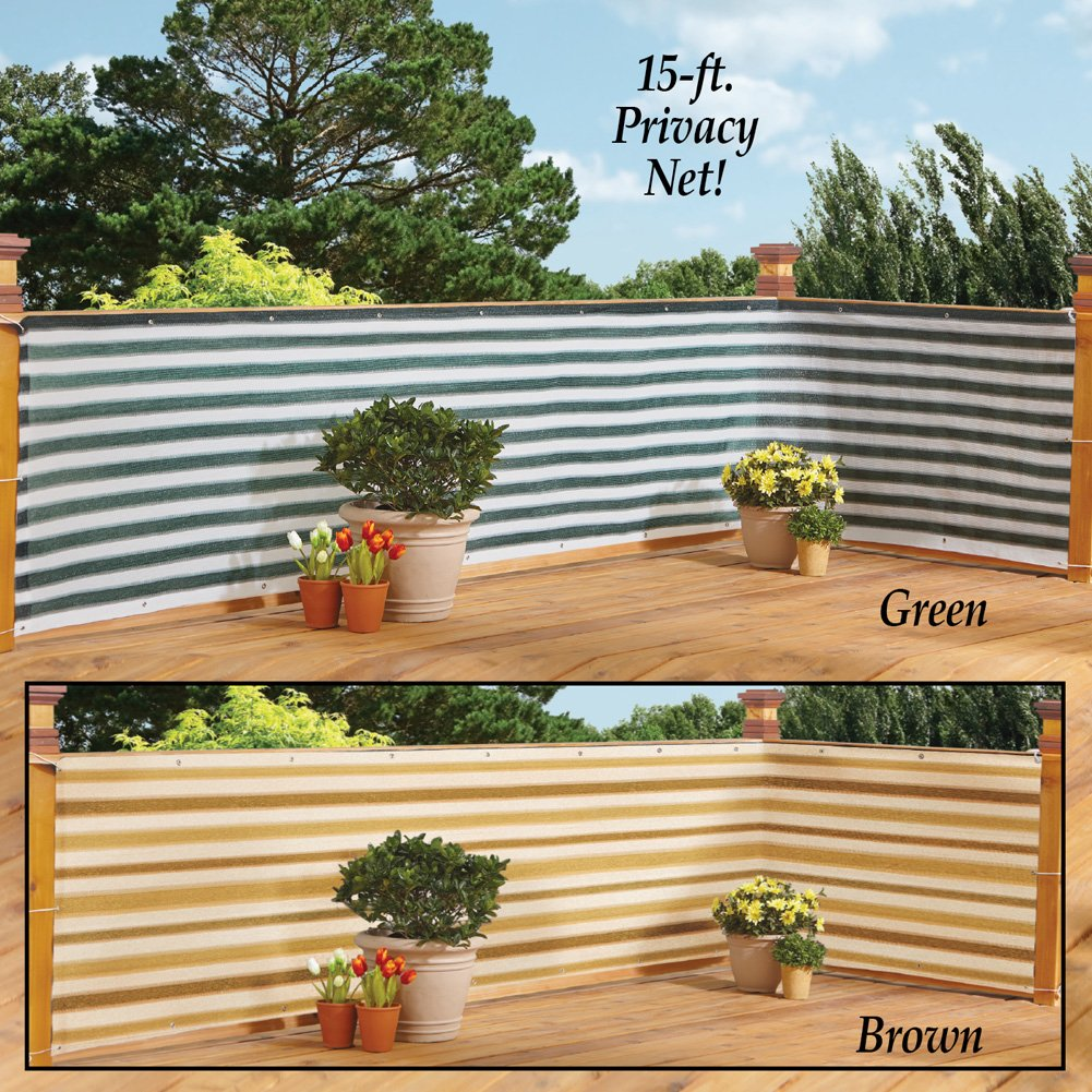 Collections Etc Deck & Fence Privacy Durable Waterproof Netting Screen with Grommets and Reinforced Seams, Brown Stripe by Collections Etc (Image #4)