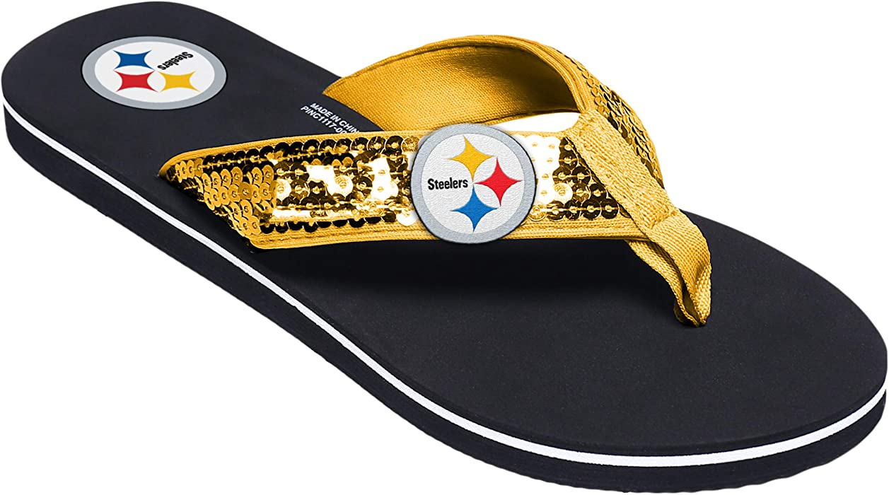 07c026ec8957f NFL Pittsburgh Steelers Womens Sequin Flip FLop- Team Color, Medium