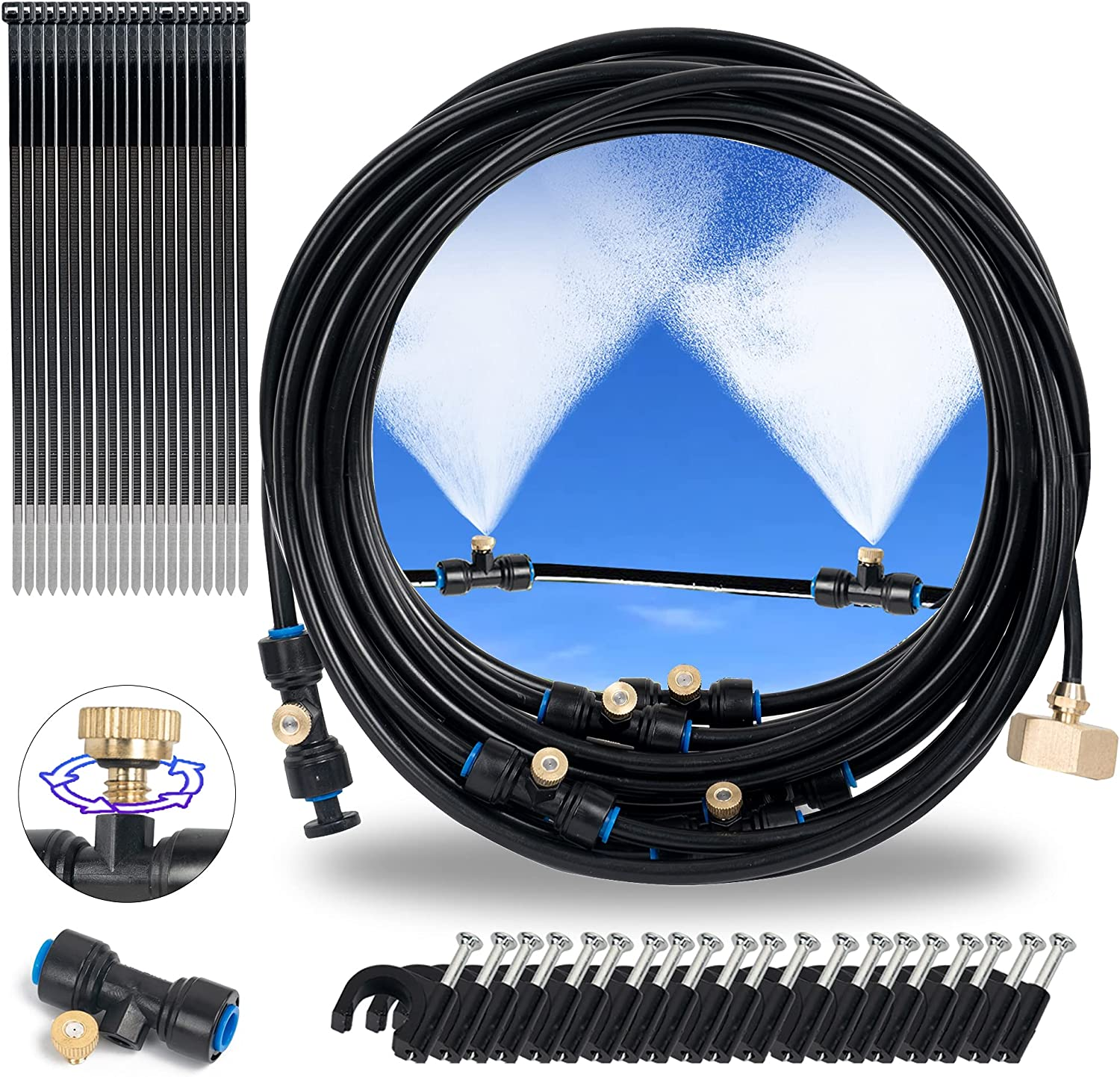Hourleey 26 Ft Misting Cooling System, Outdoor Mister System with 26 Feet Misting Tube, 9 Brass Mist Nozzles and 3/4