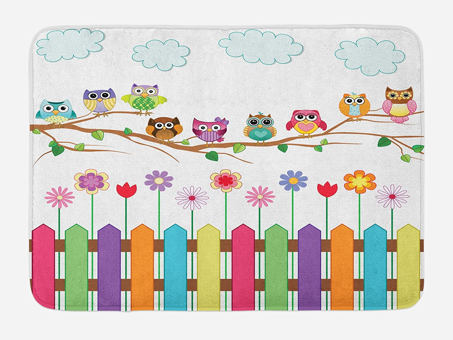 """Ambesonne Owls Bath Mat, Owls on a Branch Sunny Day in Countryside Farmhouse Fences Wildflowers Holidays Art, Plush Bathroom Decor Mat with Non Slip Backing, 29.5"""" X 17.5"""", White Pink"""