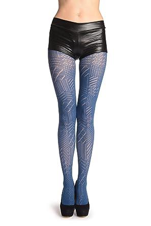 8c6ff65cb491d Navy Blue Geometrical Crochet Lace - Blue Geometrical Tights: Amazon.co.uk:  Clothing
