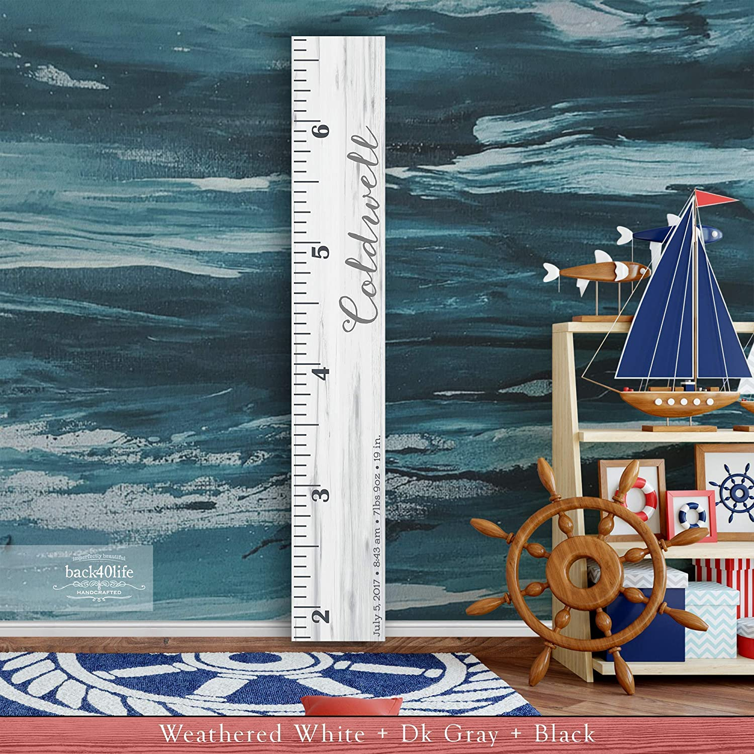 Express Edition The Coldwell by Back40Life Wooden Kids Growth Height Chart Ruler for Boys and Girls Painted