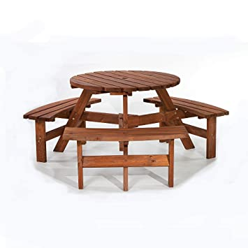 Wondrous Brackenstyle Brown Picnic Pub Bench 6 Seater Round Wooden Garden Patio Table Thick Timbers Dip Treated Gmtry Best Dining Table And Chair Ideas Images Gmtryco
