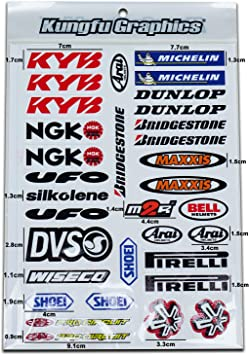 Kungfu Graphics Micro Sponsor Logo Racing Sticker Sheet Universal 41 MSS 7.2x 10.2 inch