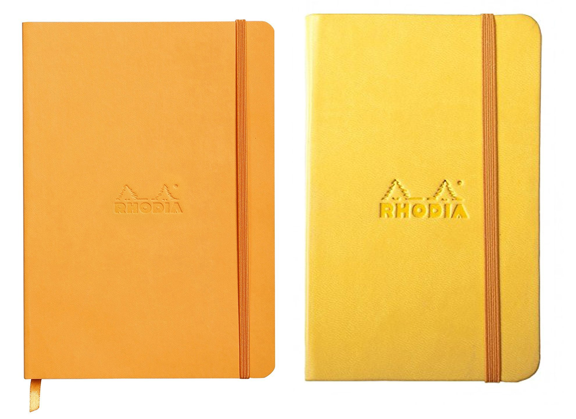 Rhodia Pack of 2 Rhodiarama Lined Soft Cover Notebooks, 5.5''x8.5'', One Daffodil and One Orange by Rhodia