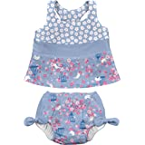 i play. Baby Girls 2pc Bow Tankini Swimsuit Set with Snap Reusable Absorbent Swim Diaper