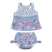 i play. Baby Girls' Bow Tankini Swimsuit with Built-In Absorbent Swim Diaper, Light Blue Songbird, 12 Months