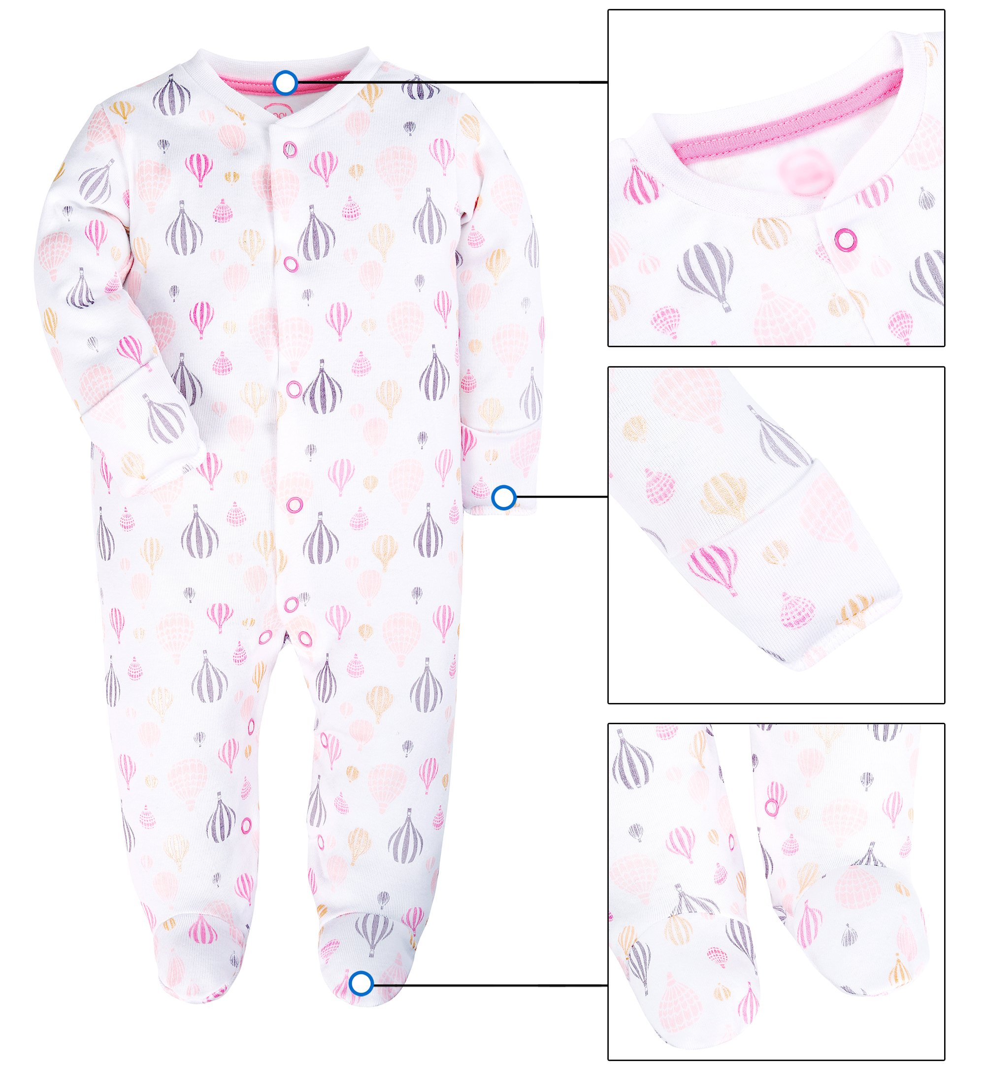 ShengHai Baby Girl Cute 2 Pack Pajamas Baby Pink Cat Printing Footed Sleeper Long Sleeve Cotton Romper With Mitten Cuffs 6-9 Months