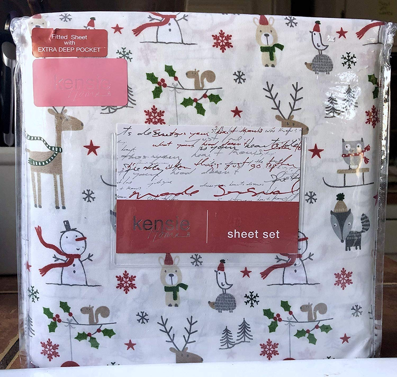 Kensie Home Christmas Holiday Snowman Winter Sheet Set - Full Size (owl Bear Fox)