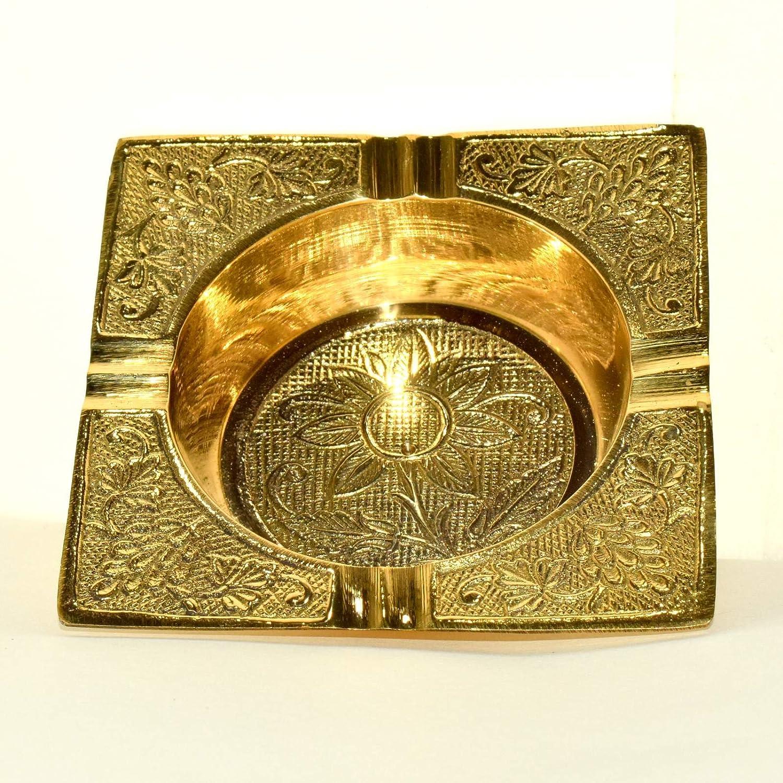 Decorative Heavy Square Brass Ashtray