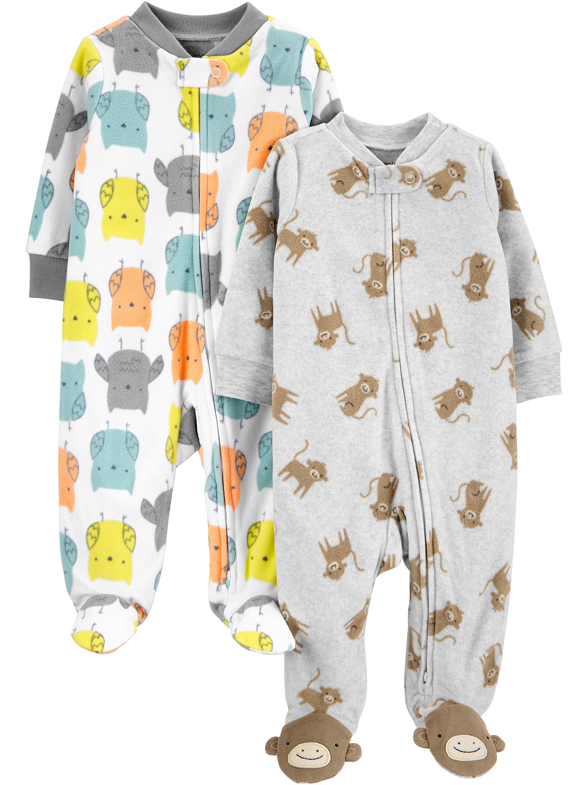 Simple Joys by Carters Unisex Baby 2-Pack Fleece Footed Sleep and Play Pack of 2