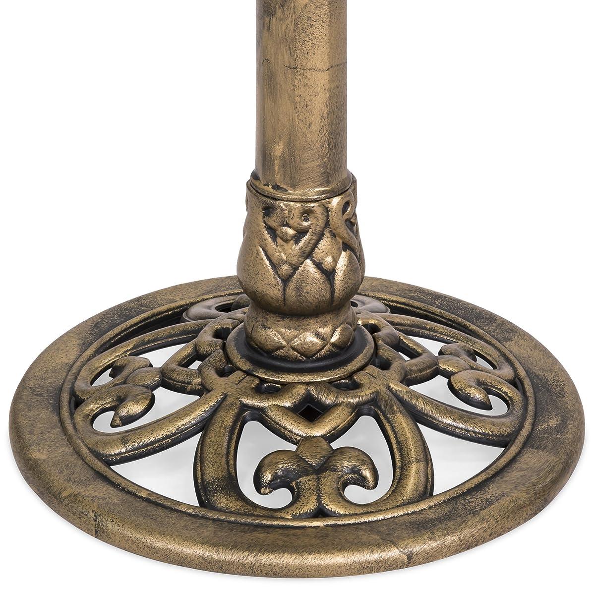 Best Choice Products Pedestal Bird Bath w/ Scroll Accent, Sitting Pair of Birds - Antique Gold