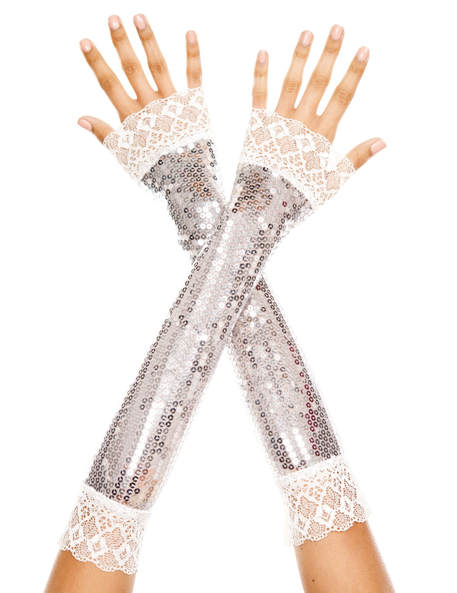 Music Legs Women's Elbow Length Sequin with Lace Arm Warmer, Silver, One Size by Music Legs (Image #1)